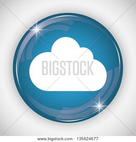 Social Media button represented by cloud multimedia app . Colorfull and isolated illustration