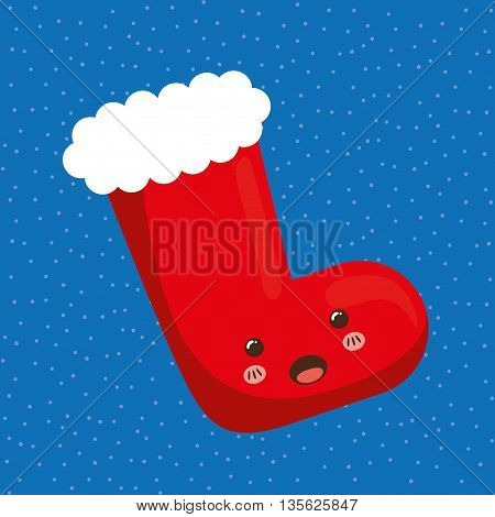 Merry Christmas concept represented by kawaii boot cartoon icon. Colorfull and flat illustration