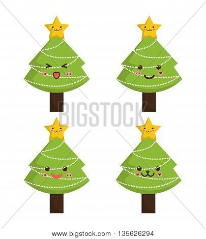Merry Christmas concept represented by kawaii pine tree cartoon icon. Colorfull and flat illustration