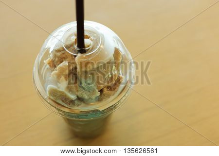 Ice Coffee Frappe Served On Wooden Table