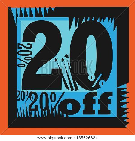 Abstract Sale sign - 20 percent Off, vector illustration