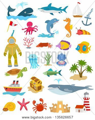 set of sea and ocean animals and fishes palm trees and sand castle ships golden chest lighthouse. vector illustration