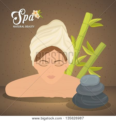 Spa center concept represented by woman and stones  icon. Colorfull illustration over grunge and brown background