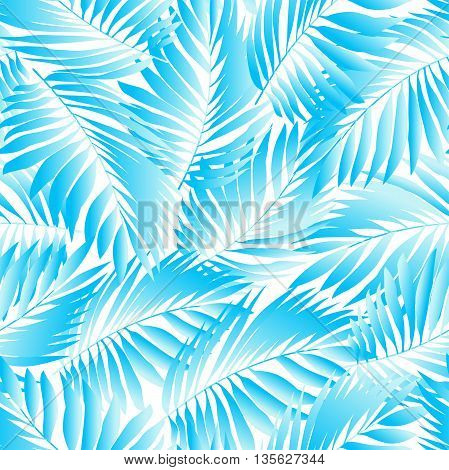 Tropical aqua leaves in a seamless pattern .