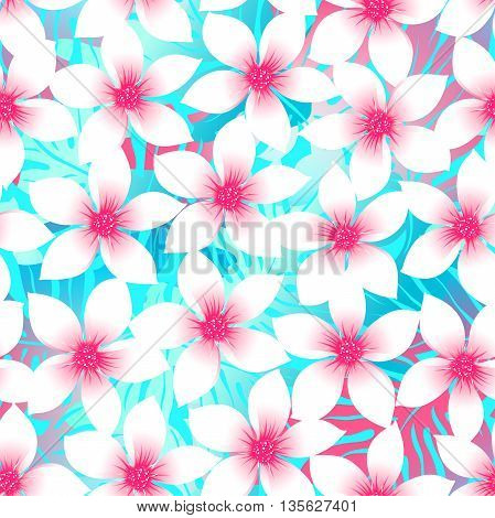 Pink and aqua Plumeria and Hibiscus floral seamless pattern .