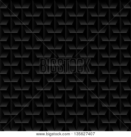 Black embossed abstract design in a seamless pattern .
