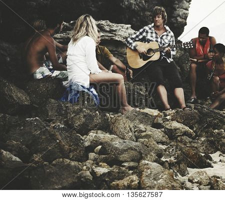 Friendship Guitar Fun Summer Enjoyment Concept