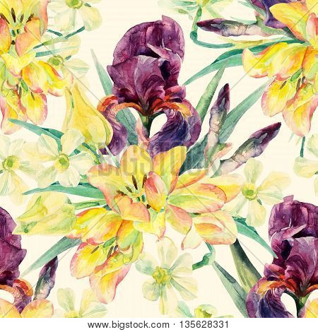 Watercolor irises tulips daffodils and leaves seamless pattern. Watercolor spring flower. Floral arrangement on pastel colored background. Hand painted garden illustration