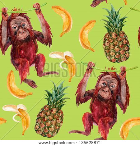 Orangutan baby pineapple and banana seamless pattern. A little monkey and exotic fruits. Watercolor hand painted illustration