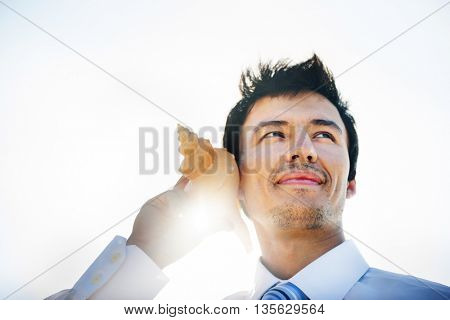 Businessman Shell Relax Vacation Vision Leisure Concept