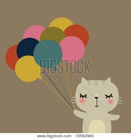Cute vector rabbit with balloon