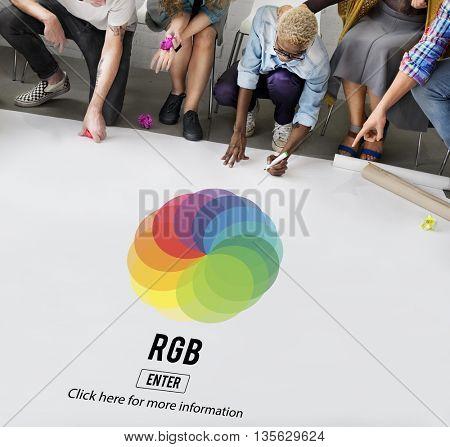 RGB Printing Palette Mixing Colour Concept