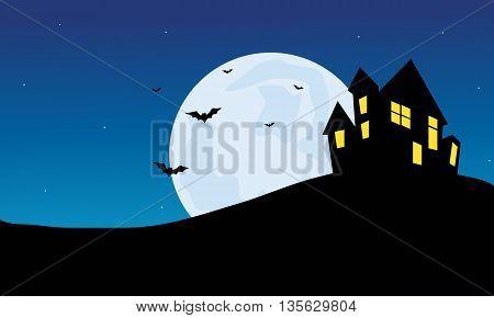 Halloween Scenery castle at night vector illustration