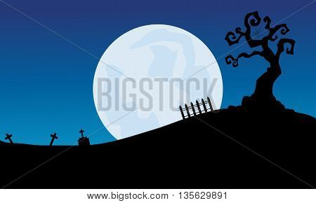 At night full moon scenery Halloween backgrounds illustration