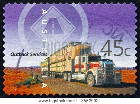 AUSTRALIA - CIRCA 2001: a stamp printed in the Australia shows Transport Outback Services circa 2001