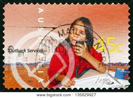 AUSTRALIA - CIRCA 2001: a stamp printed in the Australia dedicated to School of the Air Education Outback Services circa 2001