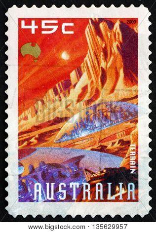 AUSTRALIA - CIRCA 2000: a stamp printed in Australia shows Terrain Mars Exploration circa 2000