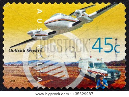 AUSTRALIA - CIRCA 2001: a stamp printed in the Australia dedicated to Royal Flying Doctor Service Outback Services circa 2001