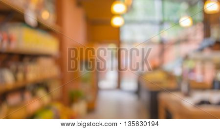 Blur Image Of Supermarket With Shining Bokeh Lights For Background.