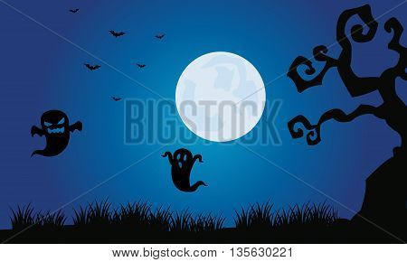 Silhouette of ghost and bat Halloween scenery illustration