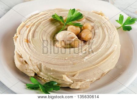 Plate Of A Creamy Hummus.