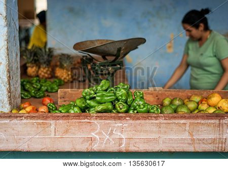 Bayamo Cuba - January 13 2016: Typical scene from one of the markets where Cubans can sell their fruits and Vegetable