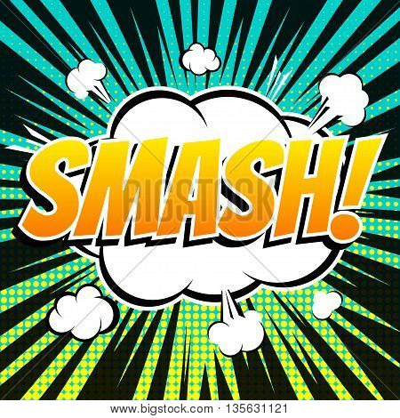 Smash comic book bubble text retro style