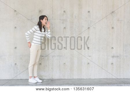 Woman shouting something