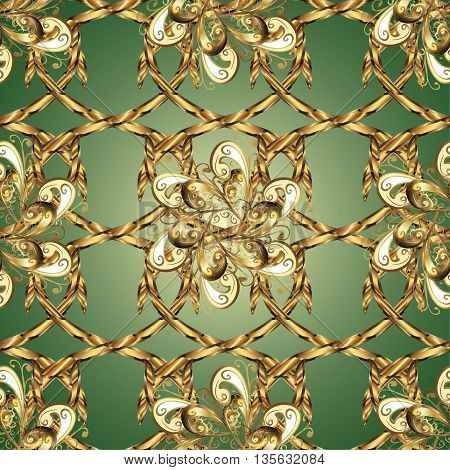 Vintage pattern on green background with golden elements.