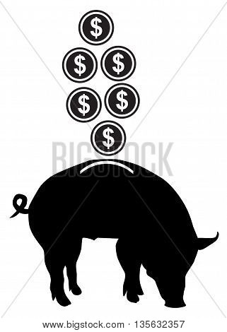 Vector piggy bank icon making money banking