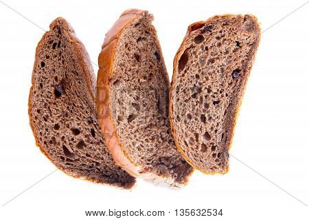 chocolate sliced bread isolated on white background.