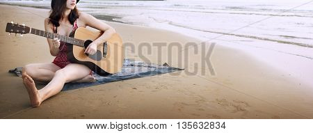 Guitar Playing Girl Beach Relaxation Song Music Concept