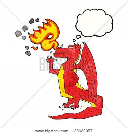 freehand drawn thought bubble textured cartoon happy dragon breathing fire