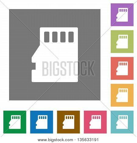 Micro SD memory card flat icon set on color square background.
