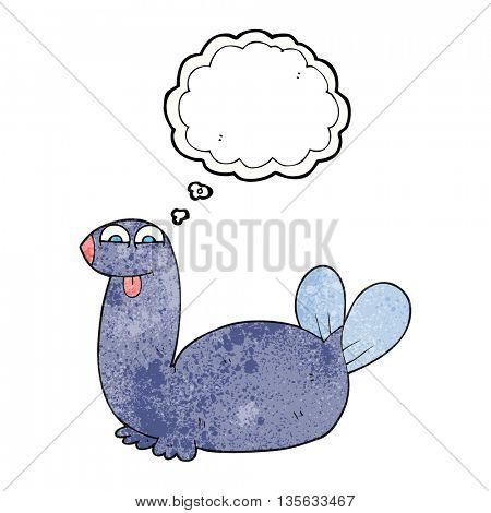 freehand drawn thought bubble textured cartoon seal