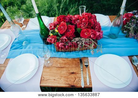 Wedding Table Setting In Rustic Style