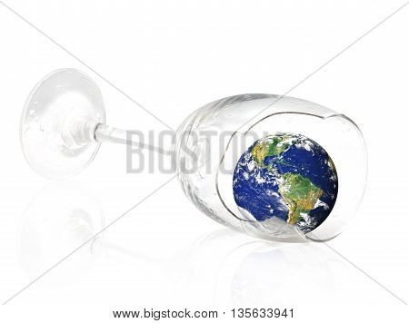Earth in the broken wineglass. The Planet Earth original image from NASA.