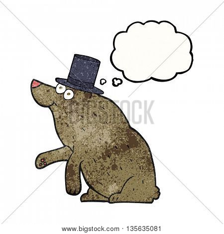 freehand drawn thought bubble textured cartoon bear in top hat