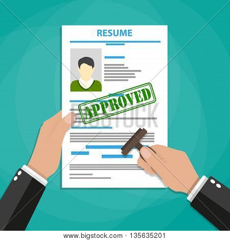 Hand holding resume and stamp with Approved stamp mark. Human resources management concept, searching professional staff, analyzing resume papers, work. vector illustration in flat design