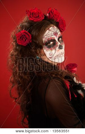 Woman With Face Paint In Day Of The Dead Style