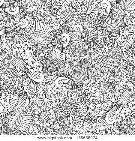 Full frame outline of elegant seamless pattern with shapes of hearts  flowers  leaves and intricate lines