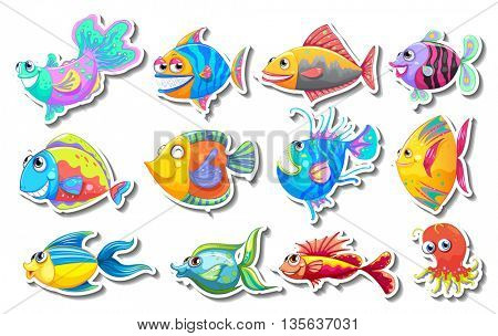 Sticker set with fancy fish illustration