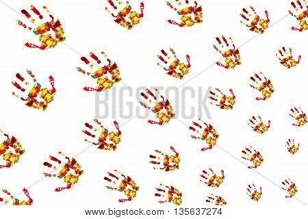 prints palm color on isolated white background