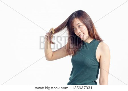 Asian Thai Lady Use Comb For Long Hair