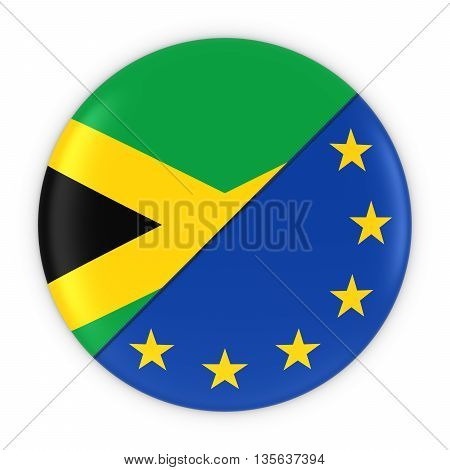 Jamaican And European Relations - Badge Flag Of Jamaica And Europe 3D Illustration