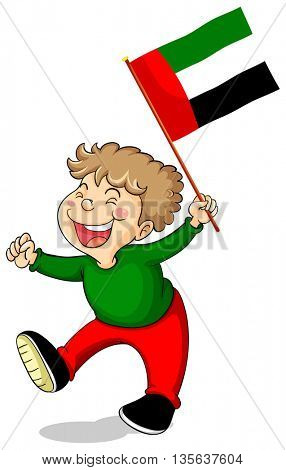 Arab Emirates flag and happy boy illustration