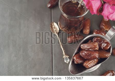 Traditional Arabic Tea And Dry Dates.