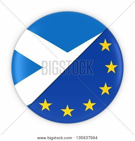 Scottish And European Relations - Badge Flag Of Scotland And Europe 3D Illustration