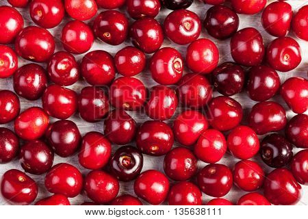 Bunch Of Cherries On Wooden Table