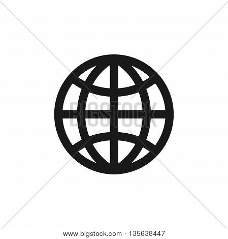 Planet icon. Globe earth sign isolated on white background. Flat design. Vector illustration